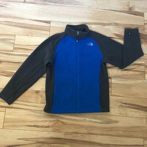 Boys North Face Blue and Gray Fleece Jacket